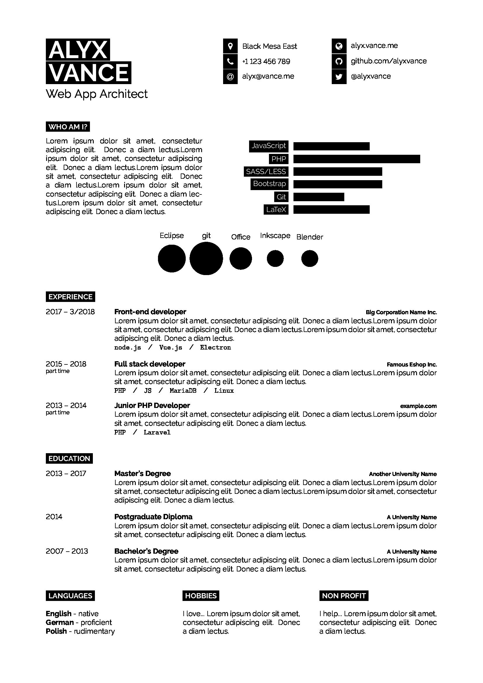一个很简洁清晰的简历 LaTeX 排版样式
